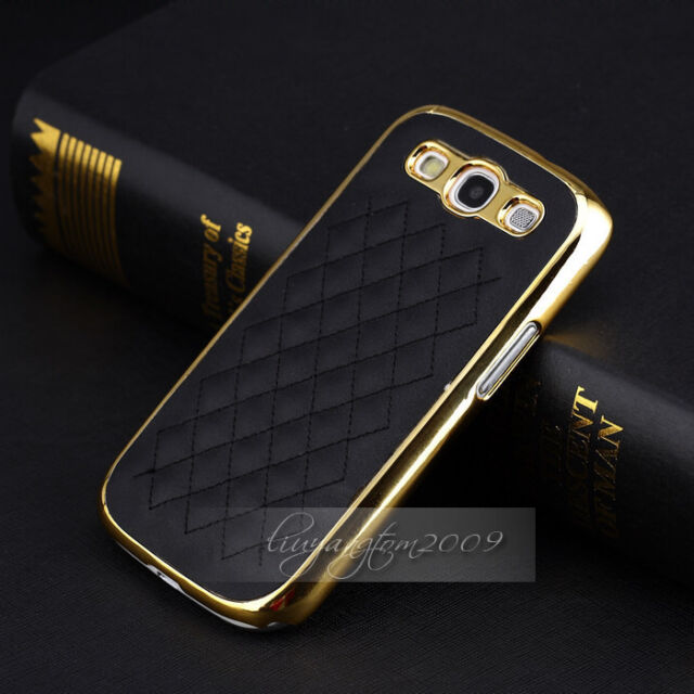 Black&Gold Deluxe Leather Chrome Hard Case Cover for Samsung Galaxy S3 i9300