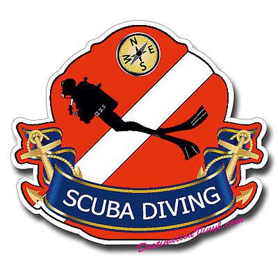 2 x 10cm Scuba Diving Flag Vinyl Sticker Decal Dive Diver iPad Laptop Sign #5422
