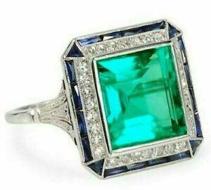 Art-Deco-2-90-Ct-Emerald-Green-Diamond-Vintage-Style-Ring-14K-White-Gold-Finish