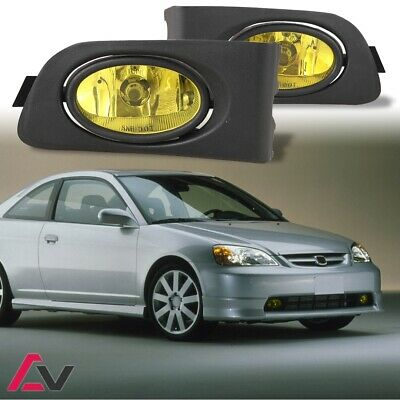 Driving Fog Lights Lamps Replacement for Honda Civic 2001 2002 2003 2//4 Door with H11 12V 55W Halogen Bulbs /& Switch and Wiring Kit Clear Lens