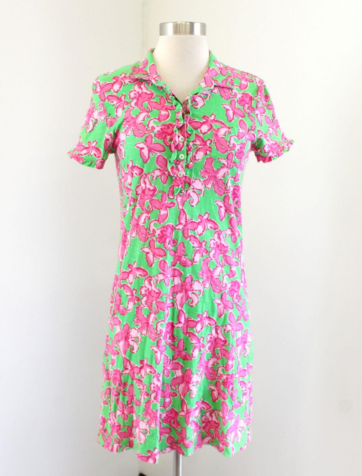 e24f6d66085 Lilly Pulitzer Carolyn Dress Green Pink Floral Butterfly Print Ruffle Trim  Sz S