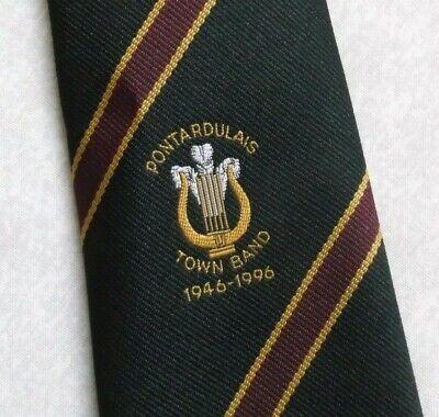 Vintage Cravatta Da Uomo Cravatta Pontardulais Citta 'band Crested 1946-1996 Galles Gallese-mostra Il Titolo Originale