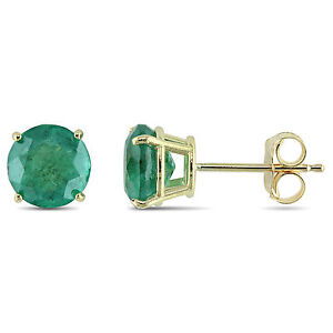 Amour-10k-Yellow-Gold-1-5-8-Ct-TGW-Emerald-Solitaire-Stud-Earrings