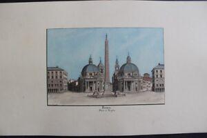 à Condition De Rome Place Du Peuple Grande & Fine Aquarelle Originale 1898 Signée E. Geoffroy