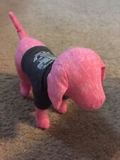 "Victoria's Secret Pink Plush Stuffed 8"" Animal Dog gray shirt Rock N Roll"
