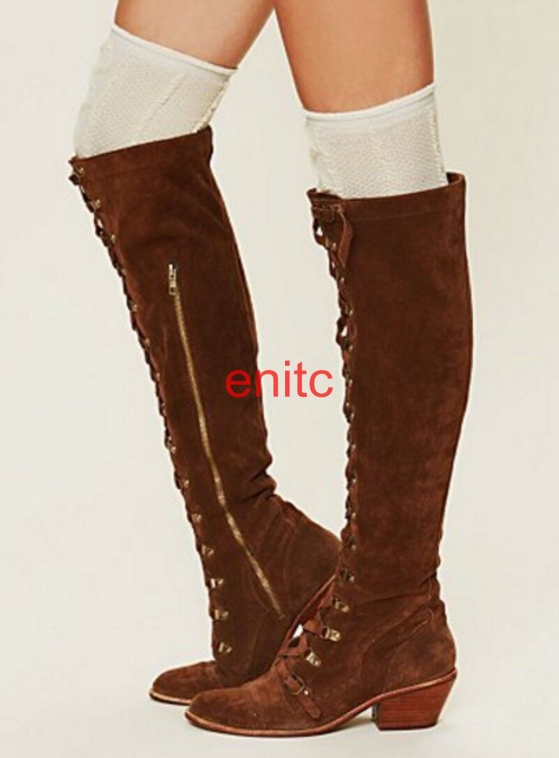 Vintage Vintage Vintage Suede Leather Lace Up Slim Leg Over Knee High Boots Womens Punk shoes d3f1a9