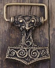 Gürtelschnalle - Thorshammer - Mjoelnar  Wikinger Thor Odin Bronze 1600094160