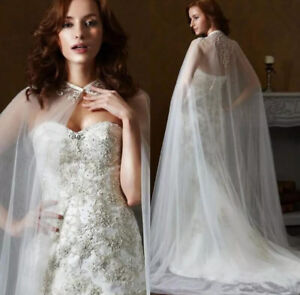 Jacket-shawl-Capes-Lace-Applique-Two-Layers-Tulle-Bridal-Dress-Long-cloak-Custom