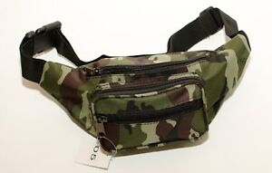 New-Strong-Green-Camouflage-Canvas-Zipped-BumBag-Bum-Bag