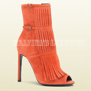 8954907c621b  995 GUCCI BOOTS BECKY ORANGE SUEDE OPEN TOE FRINGE BOOTIES sz 37.5 ...