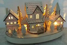 Light Up Christmas Train Village Wooden Decoration Vintage LED Lights Scene