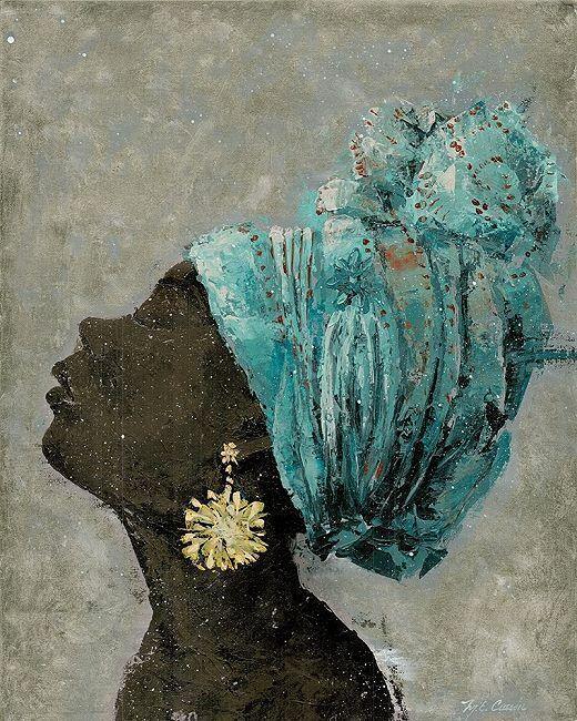 Marie Elaine Cusson  Profile of Woman II Keilrahmen-Bild Leinwand Frau Afrika