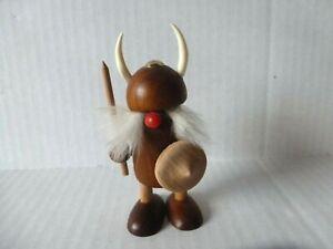 Details About Vintage Wooden Viking Figurine Mid Century 4 12