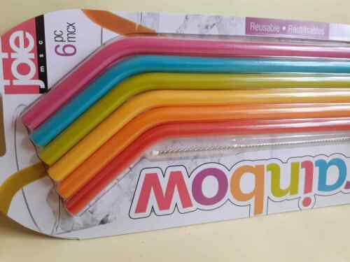 Reusable Silicone Drinking Straws Extra Wide Long Pack with Cleaning Brush 6pc