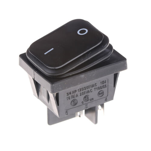 4Pin 2Position Circuits DPST ON-OFF Rocker Switch 16A 250V Black Waterproof C Kt