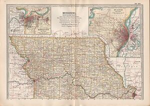 1903 britannica antique map usa missouri northern part kansas city st ...
