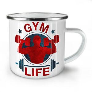 Gym Life Workout NEW Enamel Tea Mug 10 oz | Wellcoda