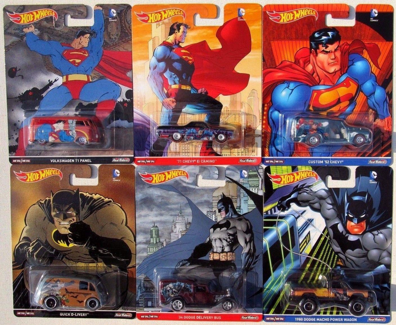 2017 Hot Wheels Pop Culture DC COMICS BATMAN Vs SUPERMAN, Full Set of 6.