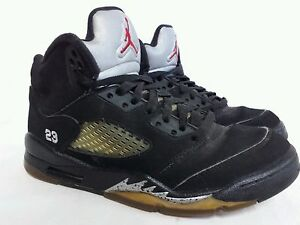 the latest 69fb5 9569a Details about Nike Air Jordan 5 V Black Metallic Retro Silver Fire Red GS  Size 6 Y