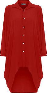 New-Womens-Plus-Size-Batwing-3-Qtr-Sleeve-Elle-Shirt-Ladies-Dip-Hem-Dress-16-30