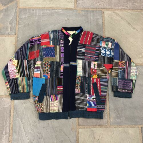 Vintage Patchwork Garment CRAZY QUILT Zip Up Jacke