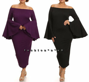 Details about Plus Size Off Shoulder Long Bell Sleeve Bodycon Midi Dress
