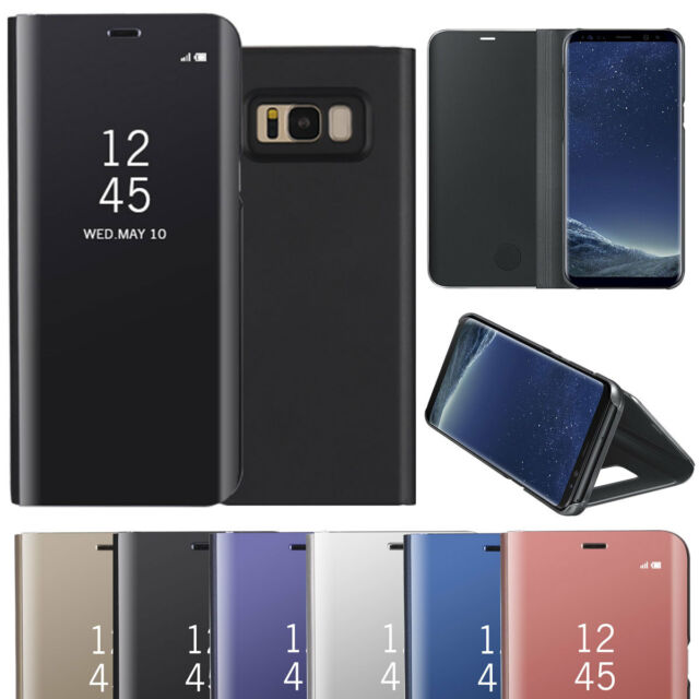 low priced 6becf be2b0 Luxury Mirror Window View Case Flip Stand Cover For Samsung S6 S7 Edge S8  Plus