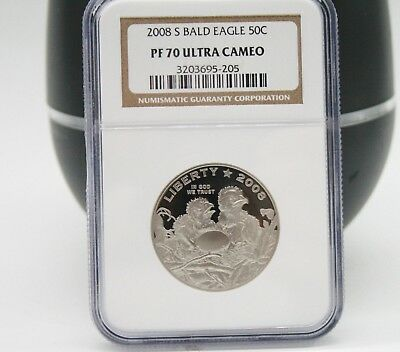 2008-S BALD EAGLE PROOF HALF DOLLAR COMMEMORATIVE NGC PF70 ULTRA CAMEO