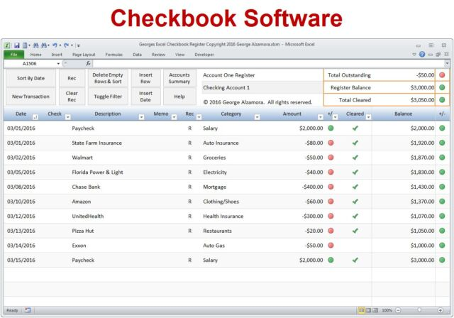 excel checkbook register spreadsheet software for checking credit