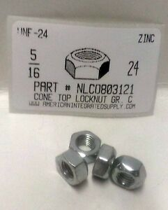 7//16-14 Hex Cone Top All Metal Lock Nuts Grade C Steel Zinc Plated 12