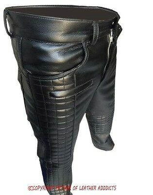 MENS REAL BLACK LEATHER QUILTED DESIGN MOTORCYCLE BIKERS PANTS JEANS TROUSER-502