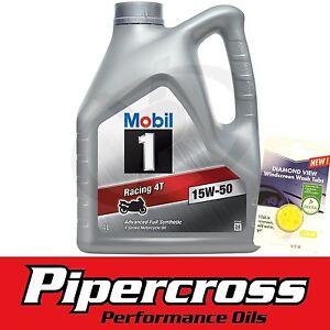 Mobil 1 RACING 4T 15W50 4L 4 Litre Motorcycle Oil + FREE 5L SCREEN WASH TAB