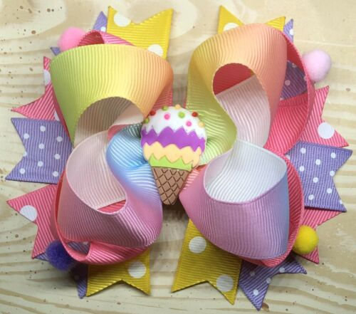 Ice Cream Large Over the Top Hair Bow