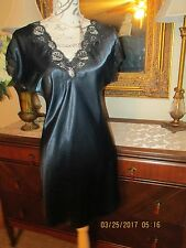 REPOSE SATIN Babydoll NIGHTGOWN BLUE BLACK LACY gown dress lingerie 40 BUST