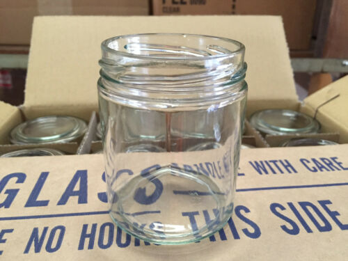 """Lot of 96 /""""Straight Side/"""" Glass JARS for CANDLES Jelly Jam 6 oz Choice of Lids"""