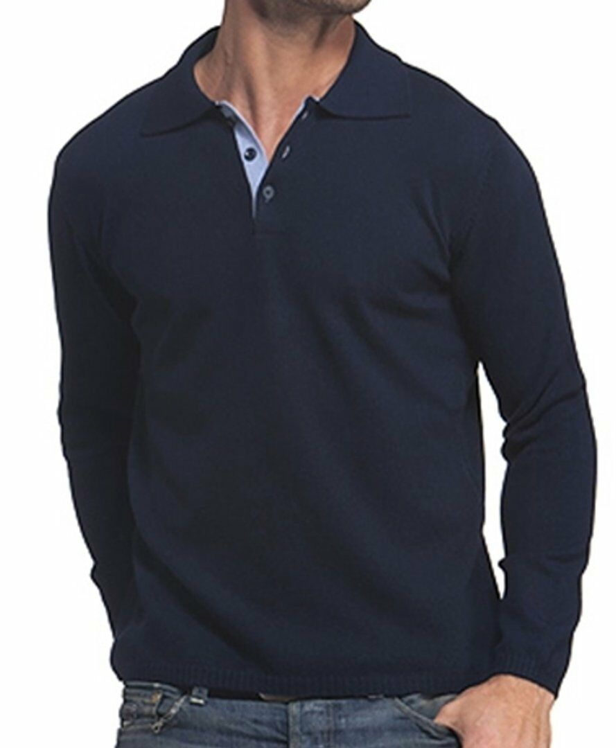 Balldiri 100% Cashmere Herren Polo Langarm 2-fädig nachtblau - himmelblau XS