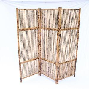 Antique Vintage Bamboo Screen Room Divider Rattan Great Patina OLD