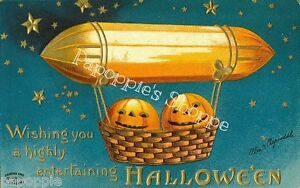 Fabric-Block-Vintage-Halloween-Postcard-Image-Hot-Air-Balloon-Ellen-Clapsaddle