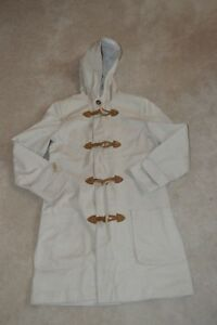 APC-Beige-Wooden-Toggle-Up-Hooded-Trench-Coat-Jacket-Mens-Size-Small-S