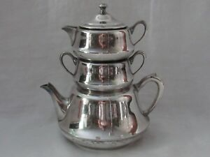 Vintage-Crescent-Silver-Plate-STACKING-TEAPOT-Set-with-Creamer-amp-Sugar-Bowl