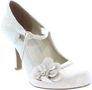 Ruby Shoo Cindy Damen Blume Mary Jane Vintage Braut Hochzeit Pumps
