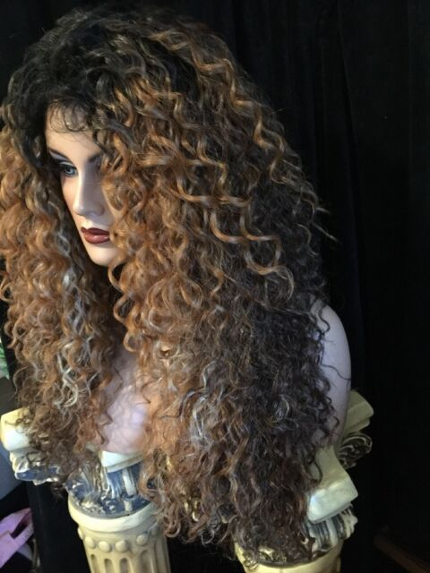 Beautiful!!  Long Curly Ombre rooted Brown & Black&BlondeStreaks Lace Front,Wig!