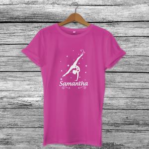 Personalised Cute Custom Handstand Gymnastics Girls Kids T-Shirt Top 4 Colours