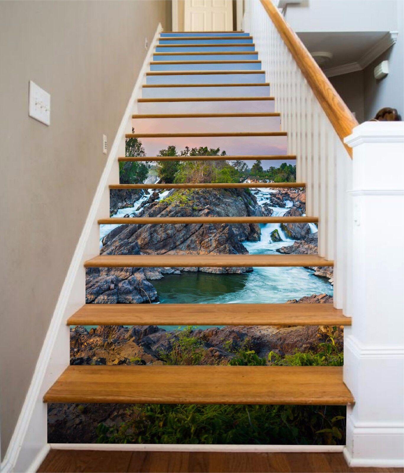 3D Sky stone 2 Stair Risers Decoration Photo Mural Vinyl Decal Wallpaper UK