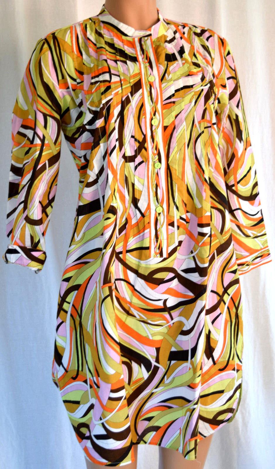 LEGGIADRO Impresión de Algodón de varios Colors sacerdote  Cuello 3 4 sleevrd Top Talla 10  entrega rápida