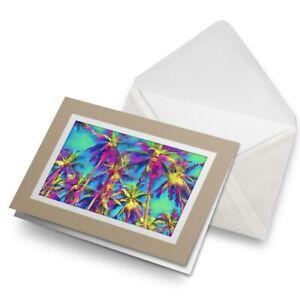 Greetings-Card-Biege-Palm-Trees-Tropical-Paradise-Art-15917
