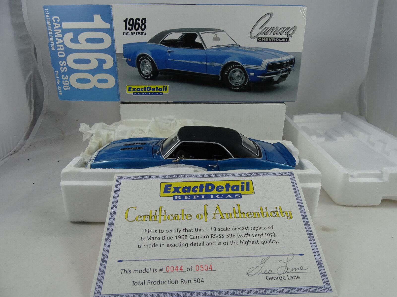 1 18 exact detail  221b Vinile Top 1968 Camaro SS 396 Skyblu Lmtd. - rarità §