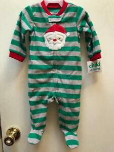 19adbea6815f Christmas Santa Green BABY BOY PAJAMAS Child of Mine NewBorn