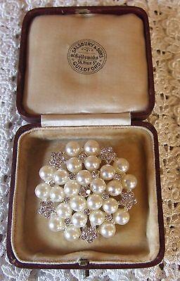 Grande Plata Diamante Perla Broche de Ramos de Boda Vintage Tortas Zapatos Broches