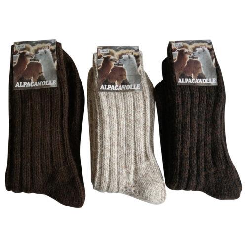 3 Paar Alpaka Schurwolle Socken 100/% extra dick weich Grob gestrickt